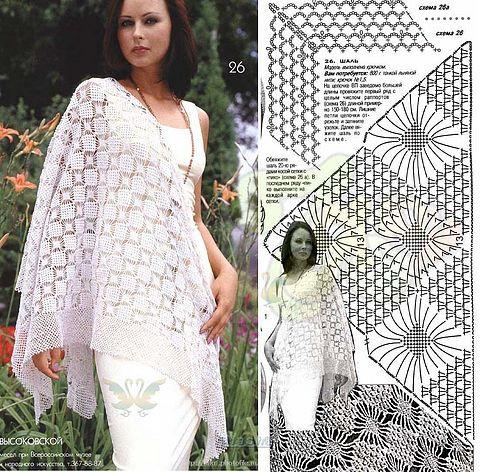 схемы вязания крючком шали платки.